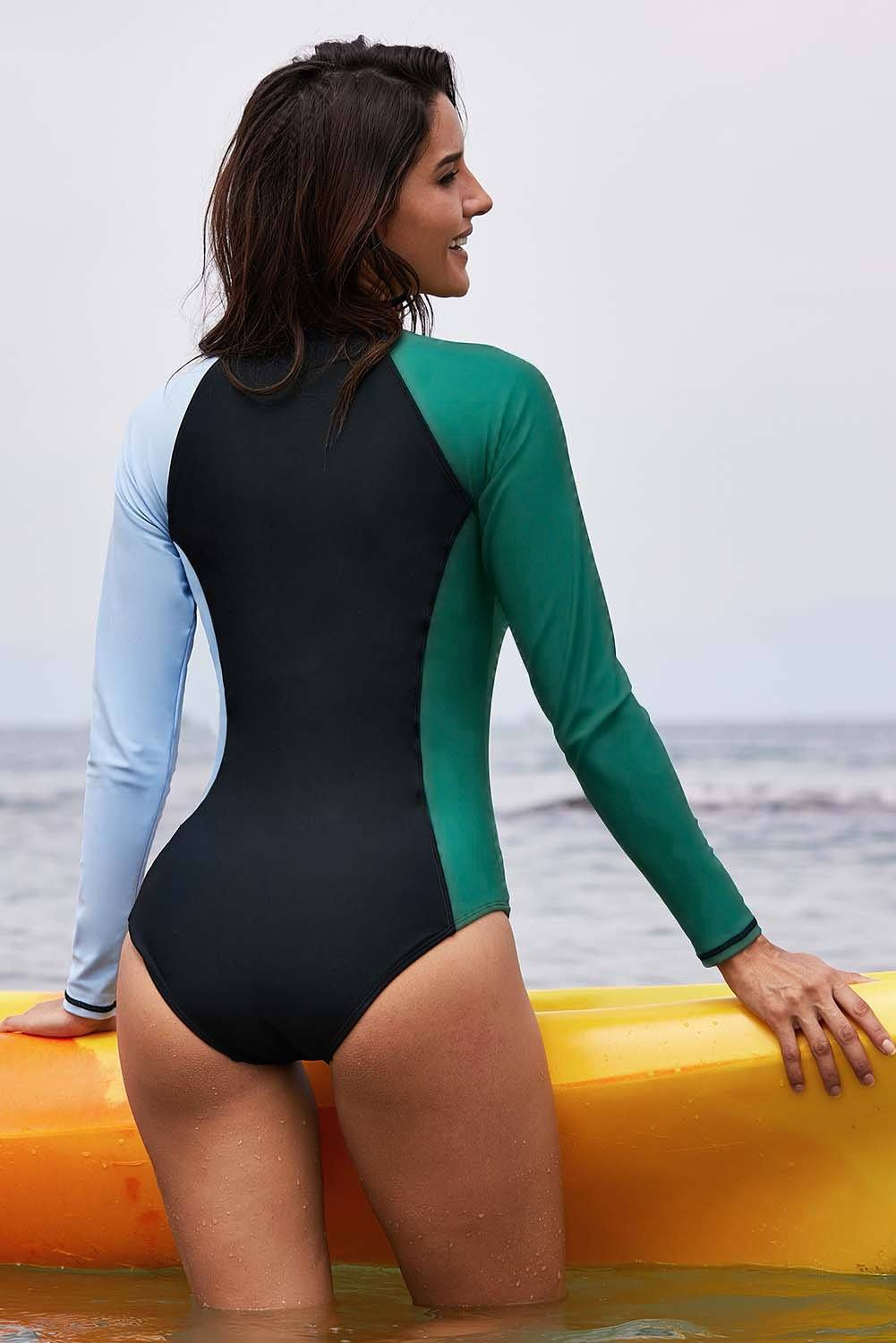 Women Long Sleeve Color Block UPF 50+ Swimwear Rash Guard One-Piece Swimsuit - KaleaBoutique.com