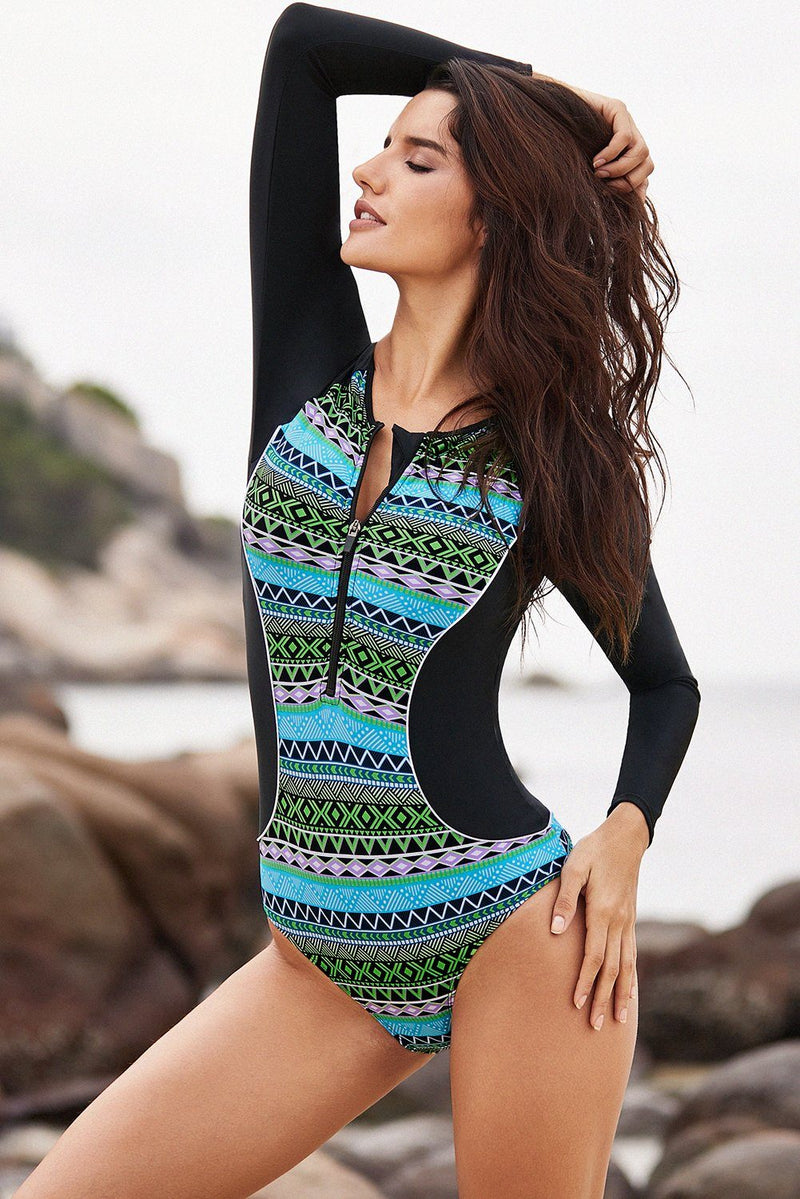 Women Long Sleeve Green Hourglass UPF 50+ Swim Wear Rash Guard One-Piece Swimsuit - KaleaBoutique.com