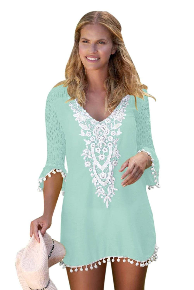 Women Mint Green Embroidered Crochet Applique Neck Pompom Trim Beach Wear Cover Up Dress - KaleaBoutique.com