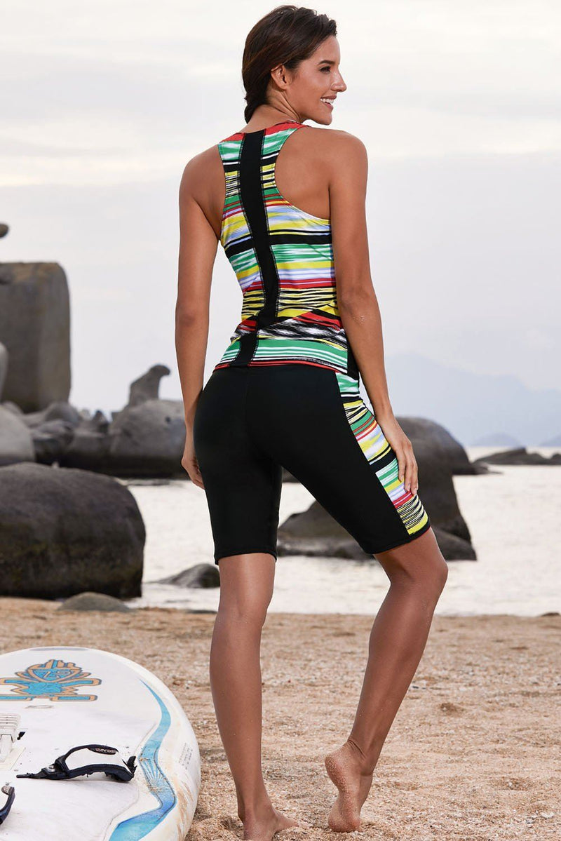 Women Multi Color Stripe Print Sleeveless Rash Guard Board Shorts 2 PC Two Piece Tankini Swimsuit - KaleaBoutique.com