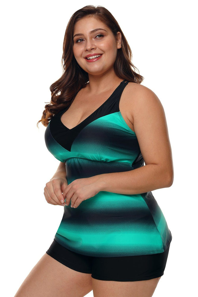 Women Multi Strap Back Green Stripe Print 2 Piece Tankini Swimsuit Bathing Shorts Suit Set - KaleaBoutique.com