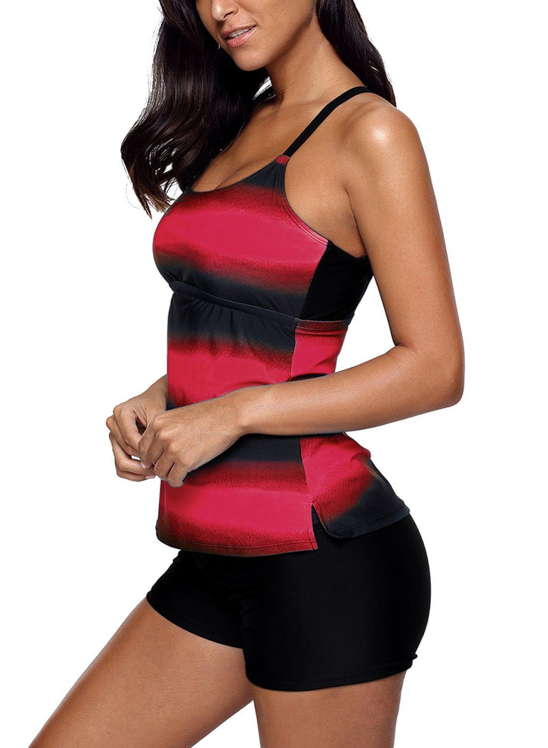 Women Multi Strap Back Pink Black Stripe Print 2 Piece Tankini Swimsuit Bathing Suit Set - KaleaBoutique.com