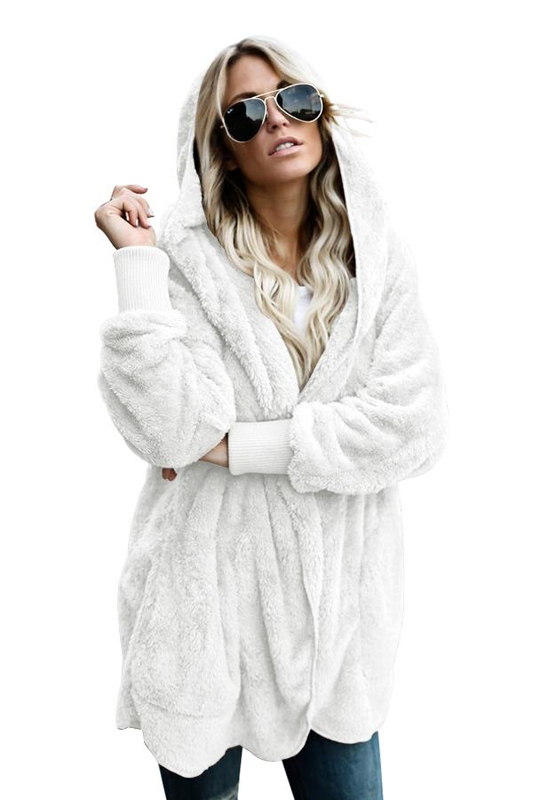 Women Off White Soft Fleece Long Hooded Open Front Cardigan Coat - KaleaBoutique.com