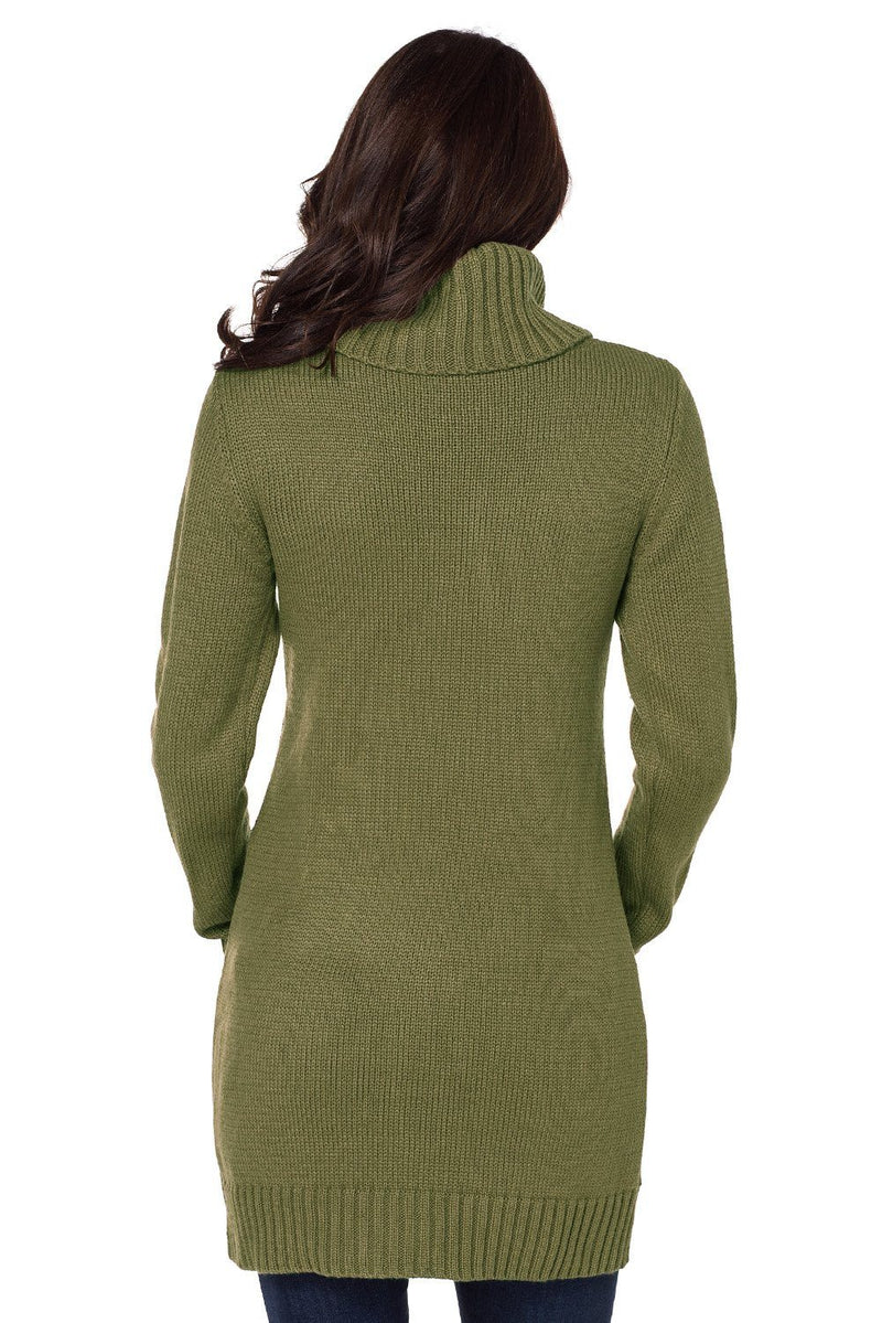 Women Olive Green Cowl Neck Cable Knit Front Pocket Ribbed Mini Sweater Dress - KaleaBoutique.com