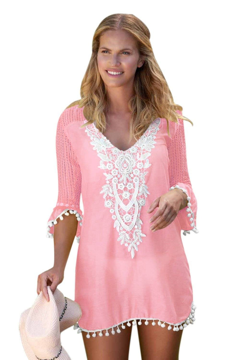 Women Pink Embroidered Crochet Applique Neck Pompom Trim Beach Wear Cover Up Dress - KaleaBoutique.com