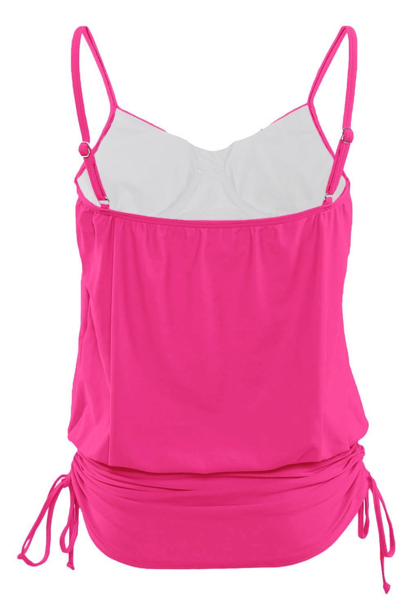 Women Pink Fuchsia Spaghetti Straps Bandeau Adjustable Length Swim Dress Tankini Top - KaleaBoutique.com