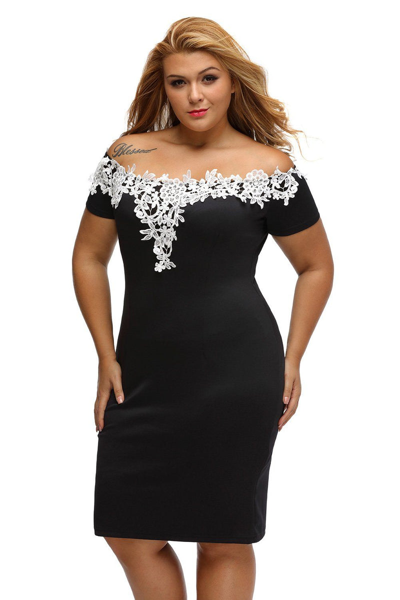 Women Plus Size Off Shoulder White Flower Crochet Neck Bodycon Pencil Midi Dress - KaleaBoutique.com