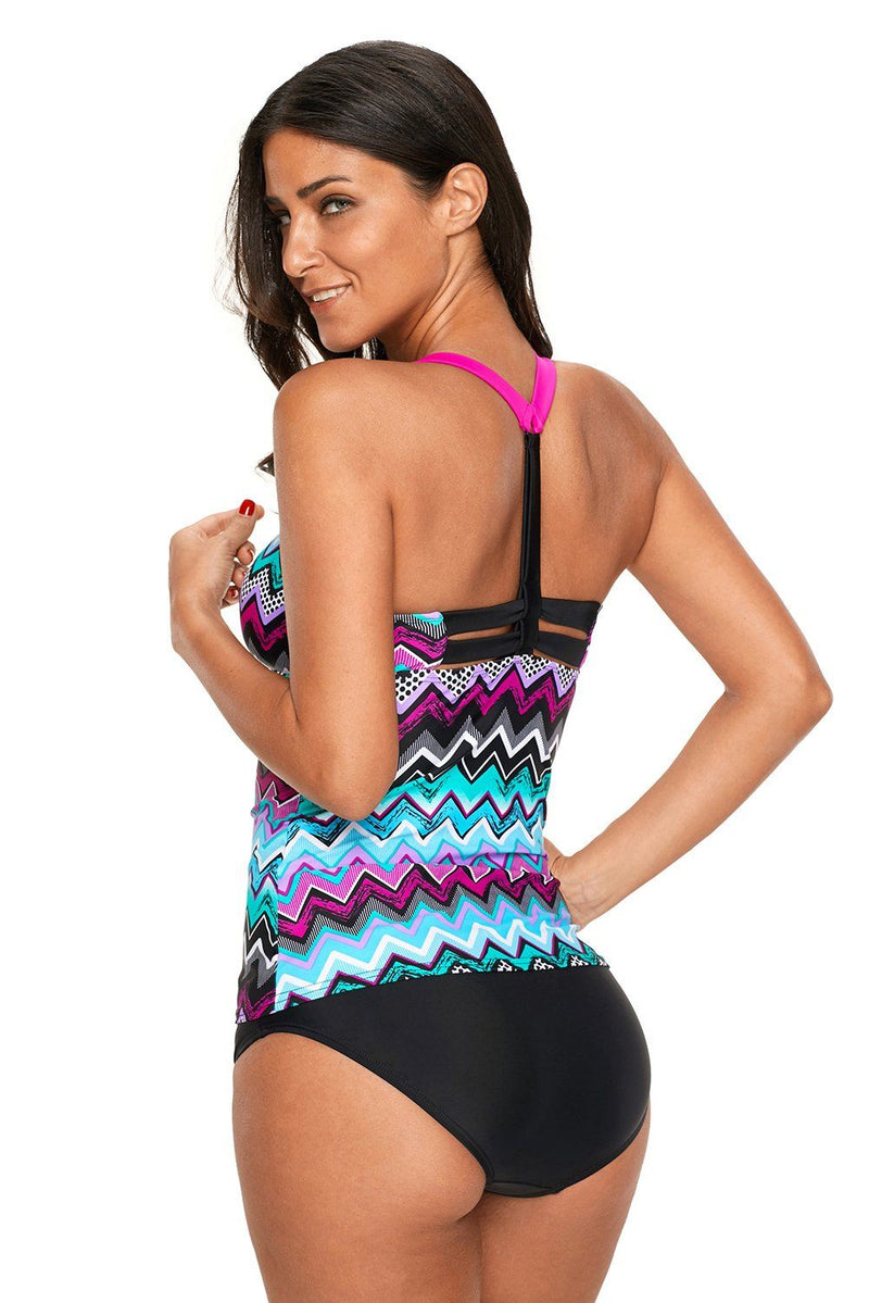 Women Purple Blue Zigzag Print Racer Y- Back Swim Wear Beach Tankini Top - KaleaBoutique.com