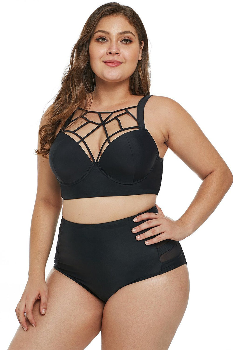 Women Solid Black Macrame Neck Push-Up Bra Plus Size Mesh Splice High Waist 2 PC Bikini Swimsuit - KaleaBoutique.com