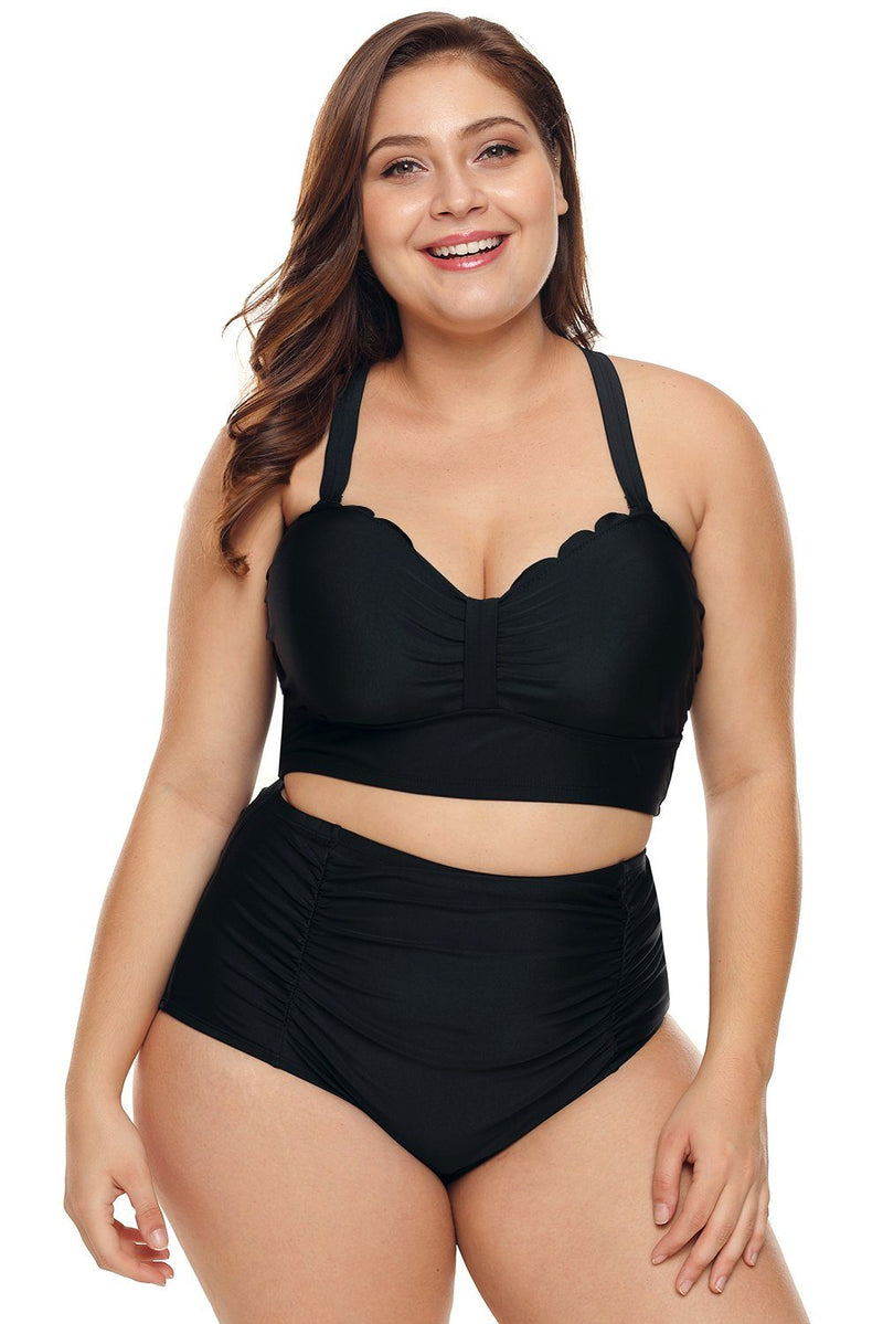 Women Solid Black Scalloped Edge Push-Up Bustier Plus Size High Waist 2 PC Bikini Swimsuit - KaleaBoutique.com