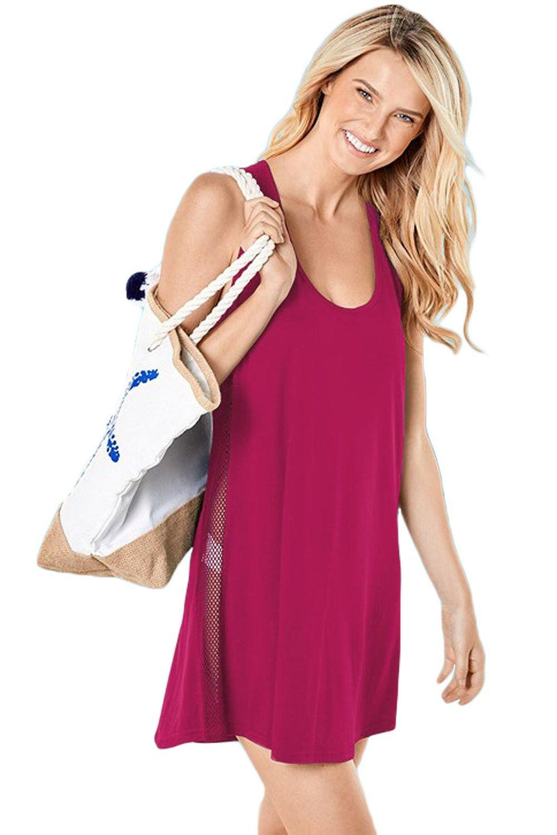 Women Solid Fuchsia Pink Mesh Side Sleeveless Racer Back Swim Wear Cover-up Mini Beach Dress - KaleaBoutique.com