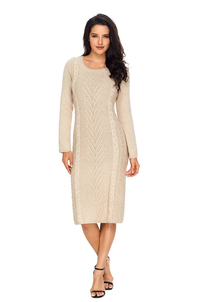 Women Solid Khaki Hand Knitted Scoop Neck Knee Length Midi Sweater Dress - KaleaBoutique.com