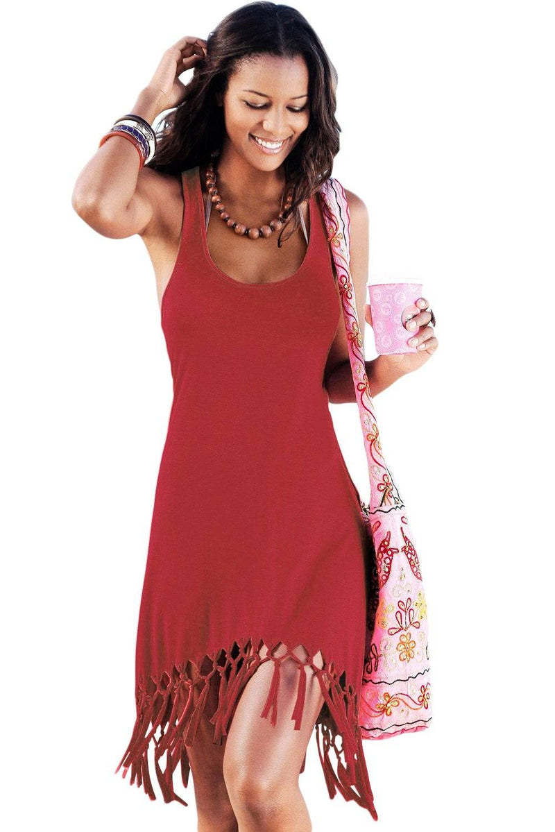 Women Solid Red Fringed Hem Racer Back Sleeveless Swim Wear Cover Up Asymmetric Beach Dress - KaleaBoutique.com