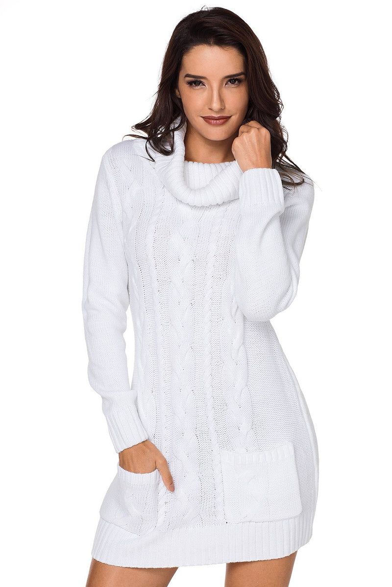 Women Solid White Cowl Neck Cable Knit Front Pocket Ribbed Mini Sweater Dress - KaleaBoutique.com
