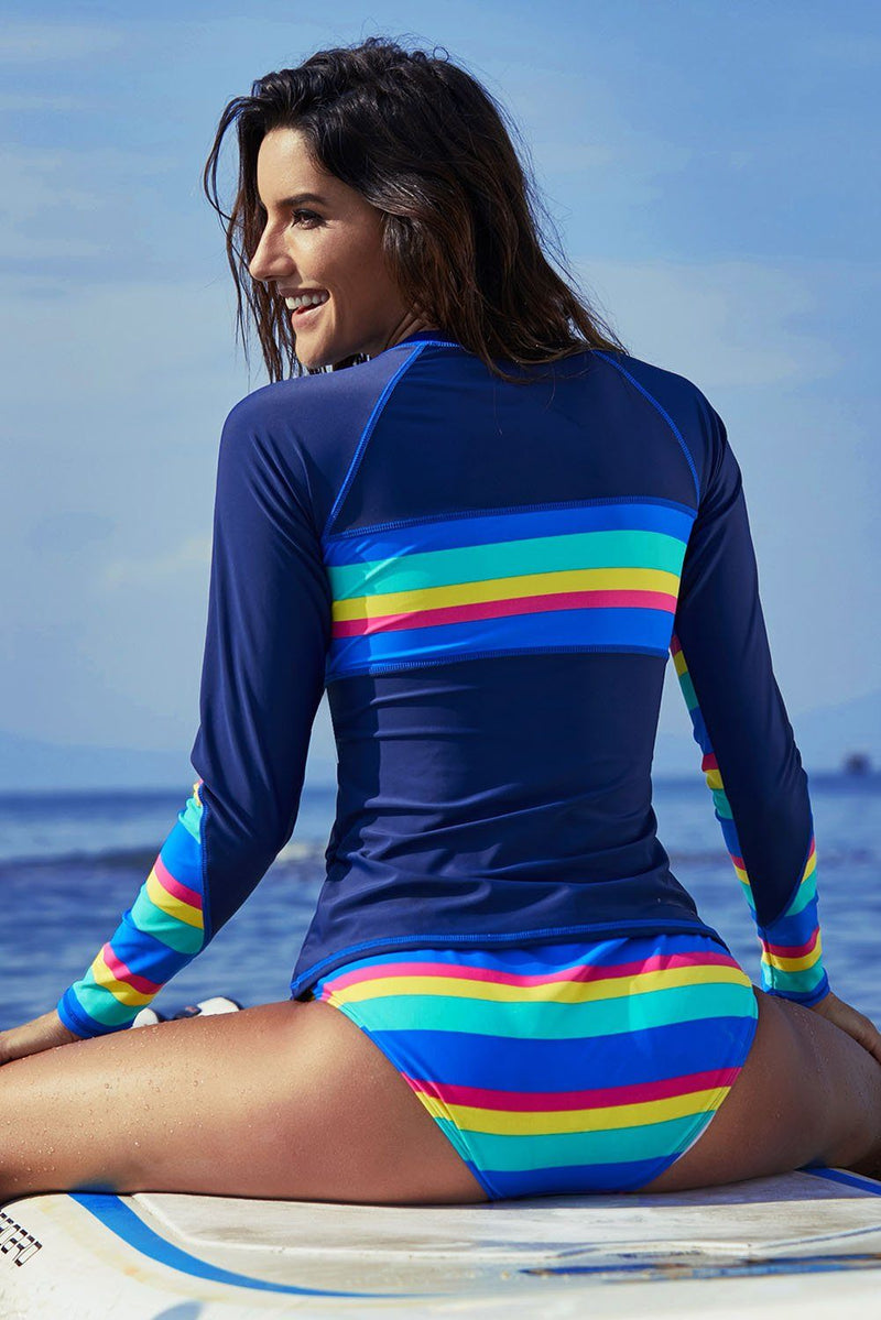 Women Striped Long Sleeve UV Sun Protection UPF 50+ Rash Guard 2 Piece Swimsuit - KaleaBoutique.com