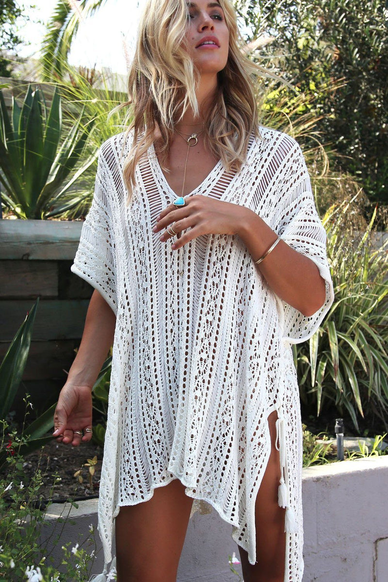 Women White Crochet Side Tassel Tie Kimono Beach Wear Summer Cover Up Dress - KaleaBoutique.com