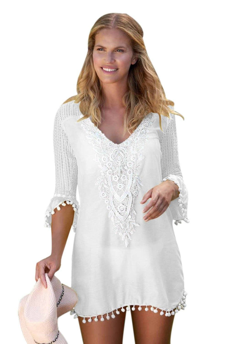 Women White Embroidered Crochet Applique Neck Pompom Trim Beach Wear Cover Up Dress - KaleaBoutique.com