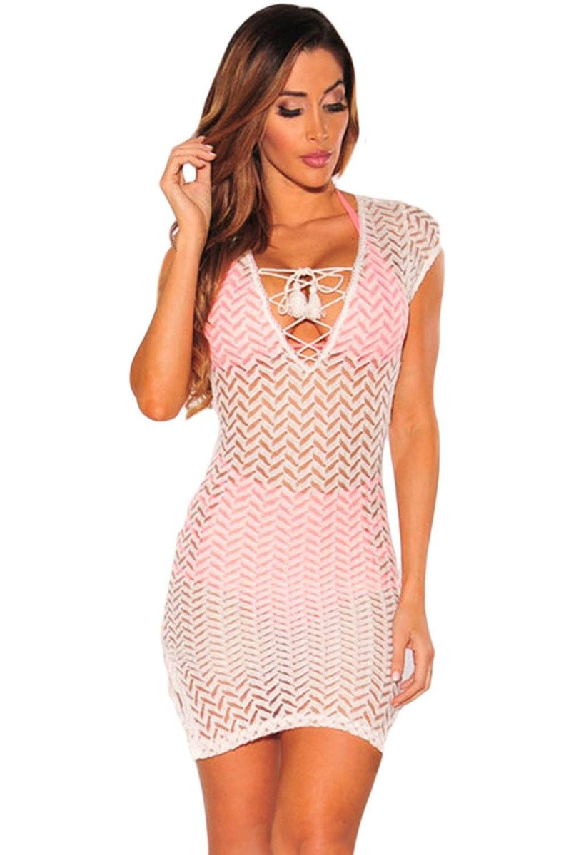 Women White Lace Up Deep V Neck Short Sleeve Mesh Net Knit Woven Cover Up Beach Dress - KaleaBoutique.com