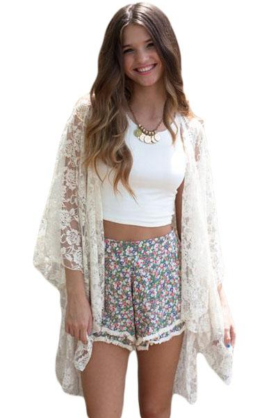 Women White Loose Relaxed Fit Lace Kimono Cardigan Swim Wear Summer Beach Cover Up - KaleaBoutique.com