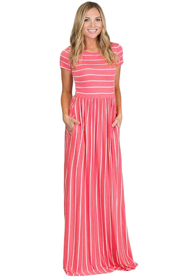 Women White Stripe Print Rosy Pink Short Sleeve Maxi A-Line Casual Dress - KaleaBoutique.com