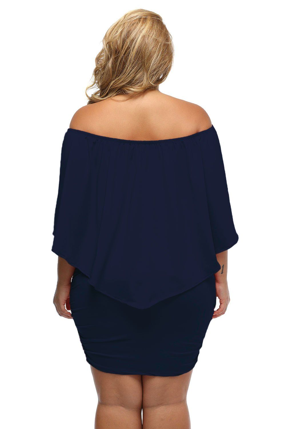 Women's Navy Blue Off Shoulder Bandeau Ruffles Multiple Layered Plus Size Mini Dress - KaleaBoutique.com