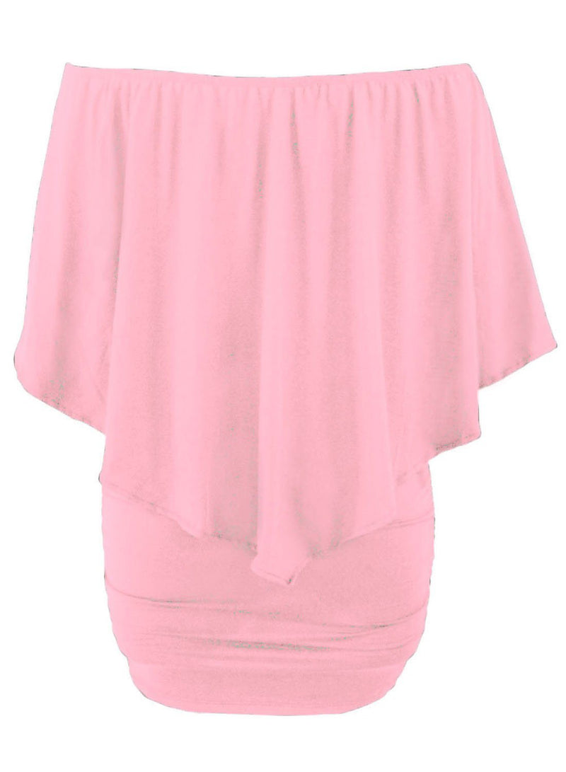 Women's Pink Off Shoulder Bandeau Ruffles Multiple Layered Plus Size Mini Dress - KaleaBoutique.com