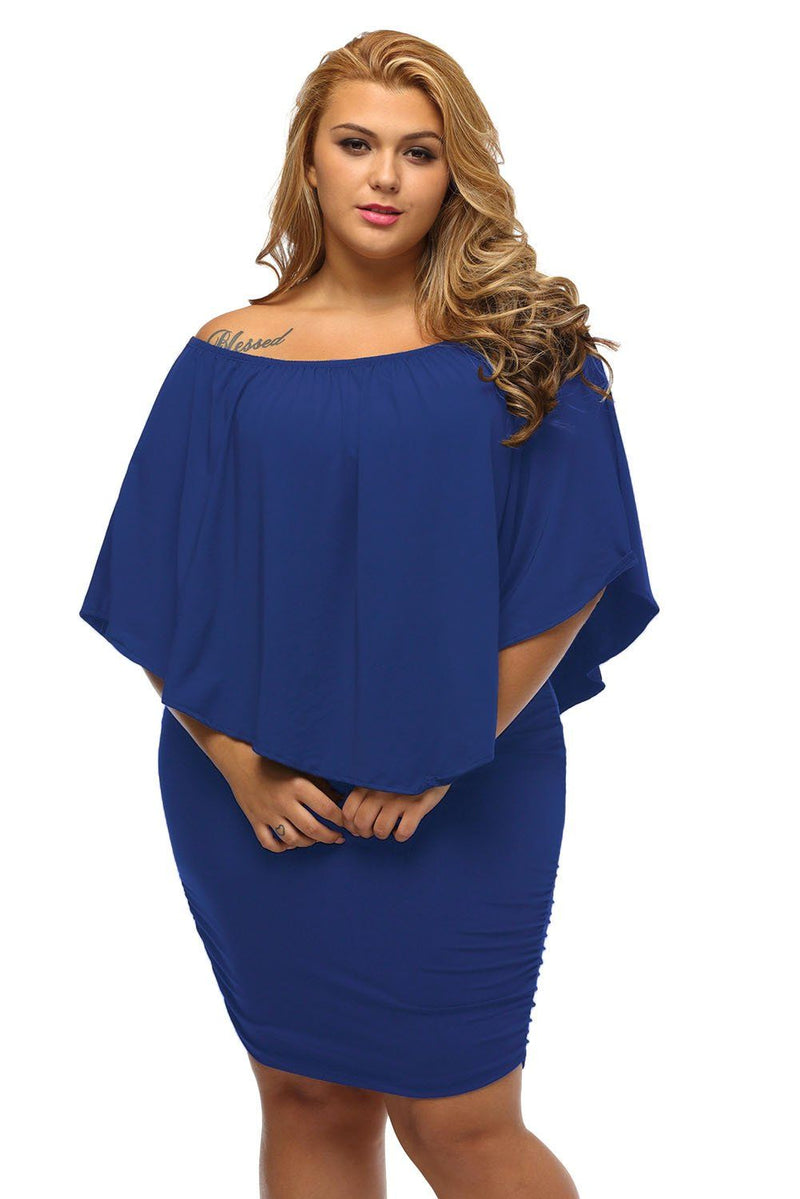 Women's Royal Blue Off Shoulder Bandeau Ruffles Multiple Layered Plus Size Mini Dress - KaleaBoutique.com