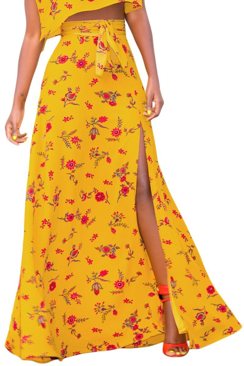 Yellow Floral Thigh Slit Maxi Skirt - KaleaBoutique.com