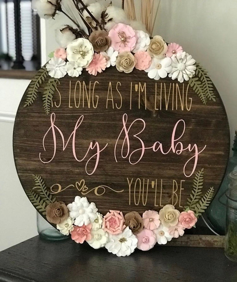 Wood floral nursery sign