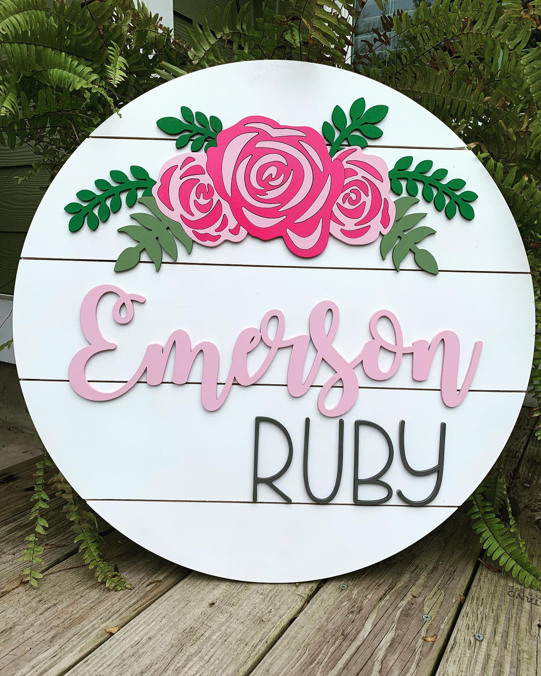 Floral girl nursery sign