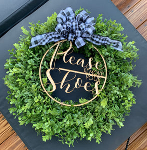 Boxwood wreath with laser cut sign