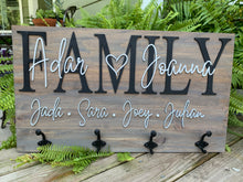 Load image into Gallery viewer, Family name sign with hooks