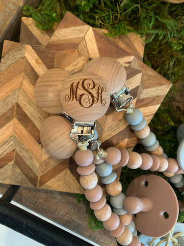 Wooden bead pacifier holder and pacifier