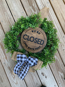 Closed/out to lunch wreath