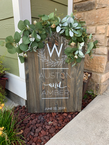 Wedding Wreath Sign With Greenery