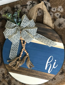 Wood navy/beaded door hanger
