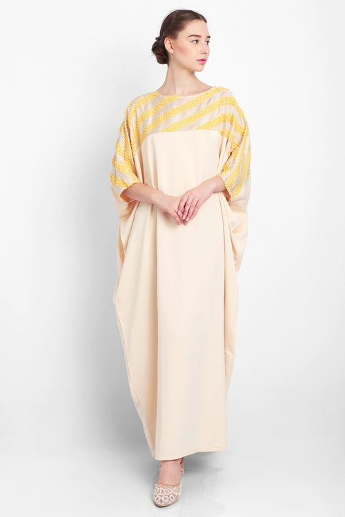 Zahiya Kaftan in Light Yellow