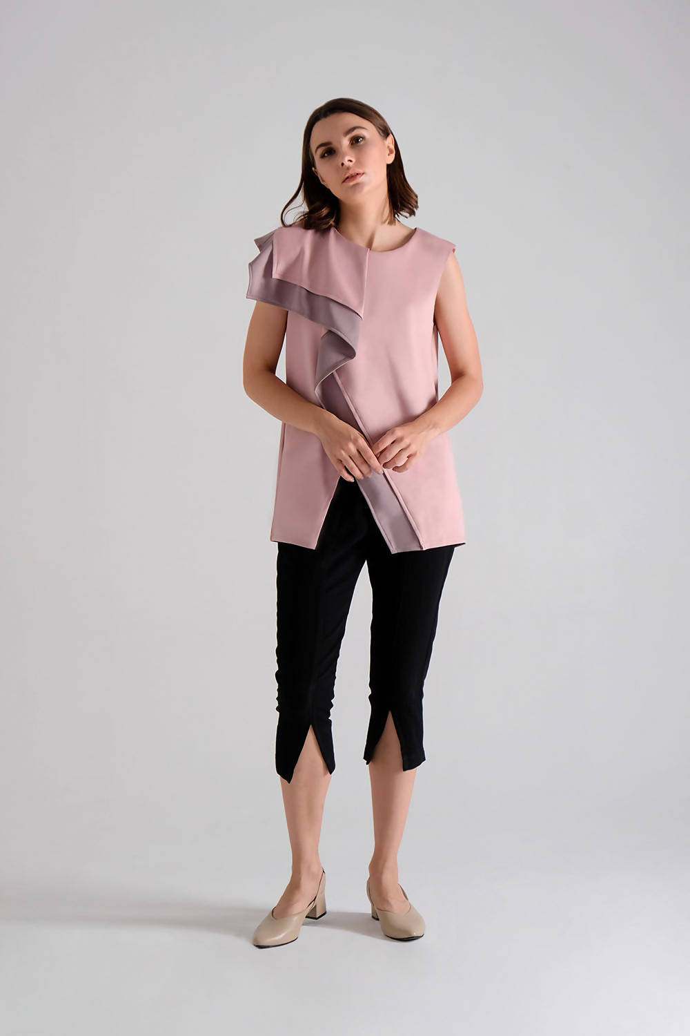 Leoni Ruffle Top in Pink