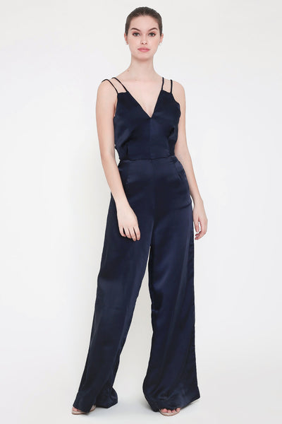 Cali Satin Jumpsuit Silk Navy