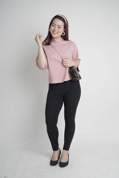 Sonata Suede High Neck Top in Soft Pink