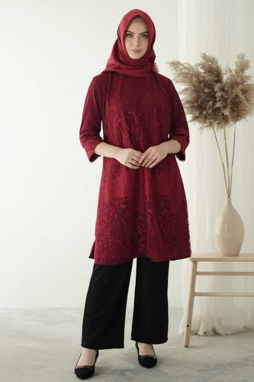 Luna Dress Tunic Maroon