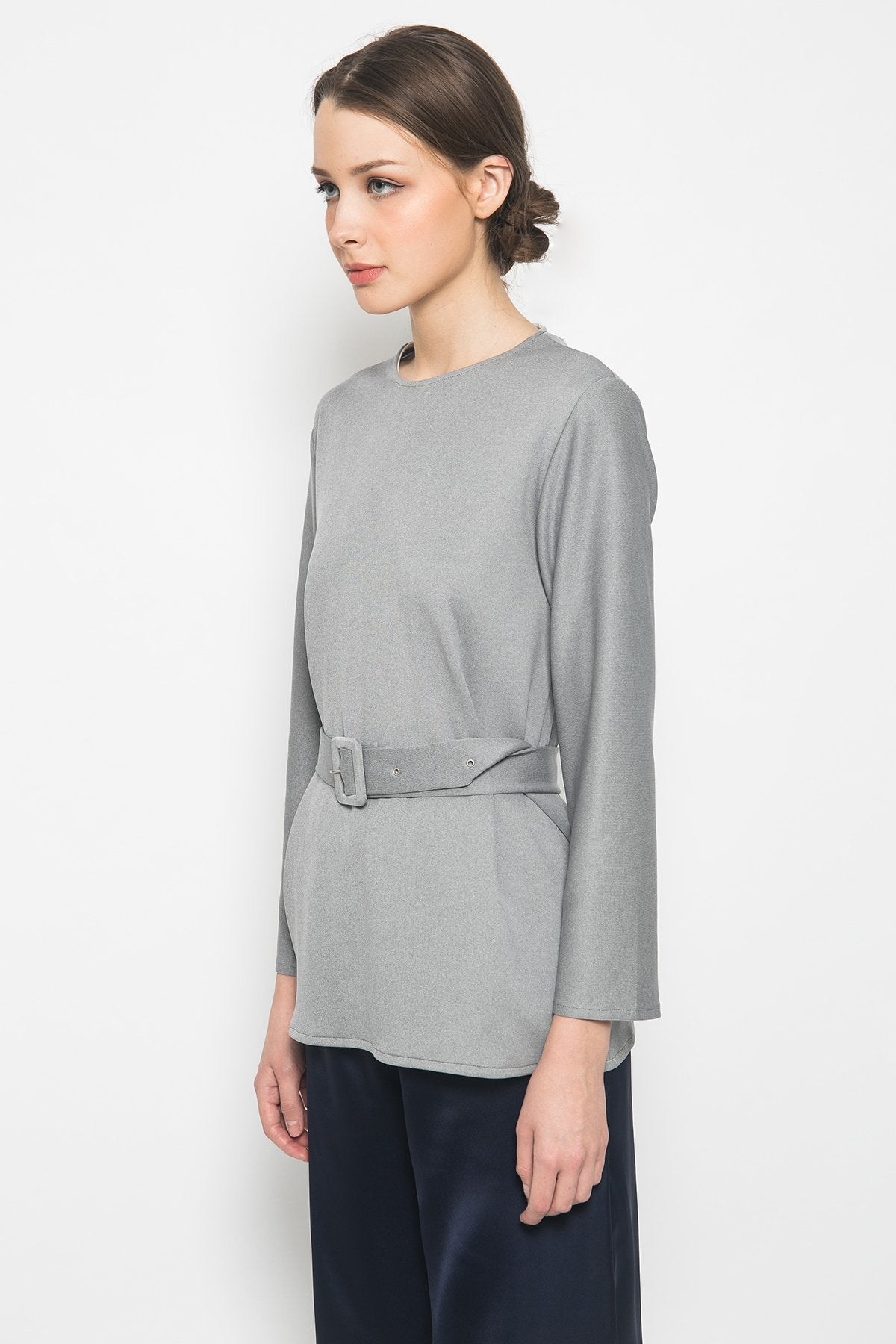 Elaine Top in Grey White