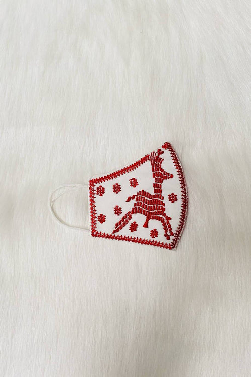Embroidery clothmask red white