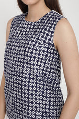 Solemn Batik Top in Navy