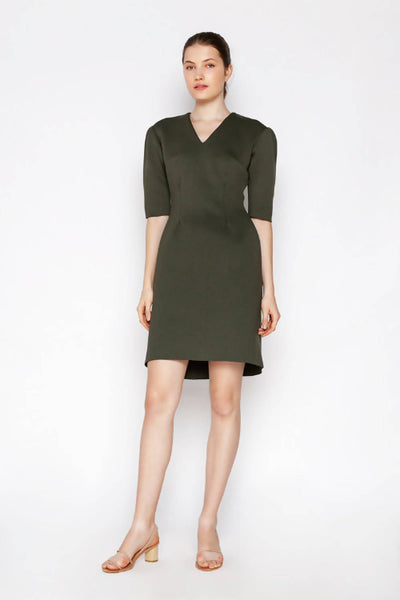 Zoe Neoprene Dress - Army Green