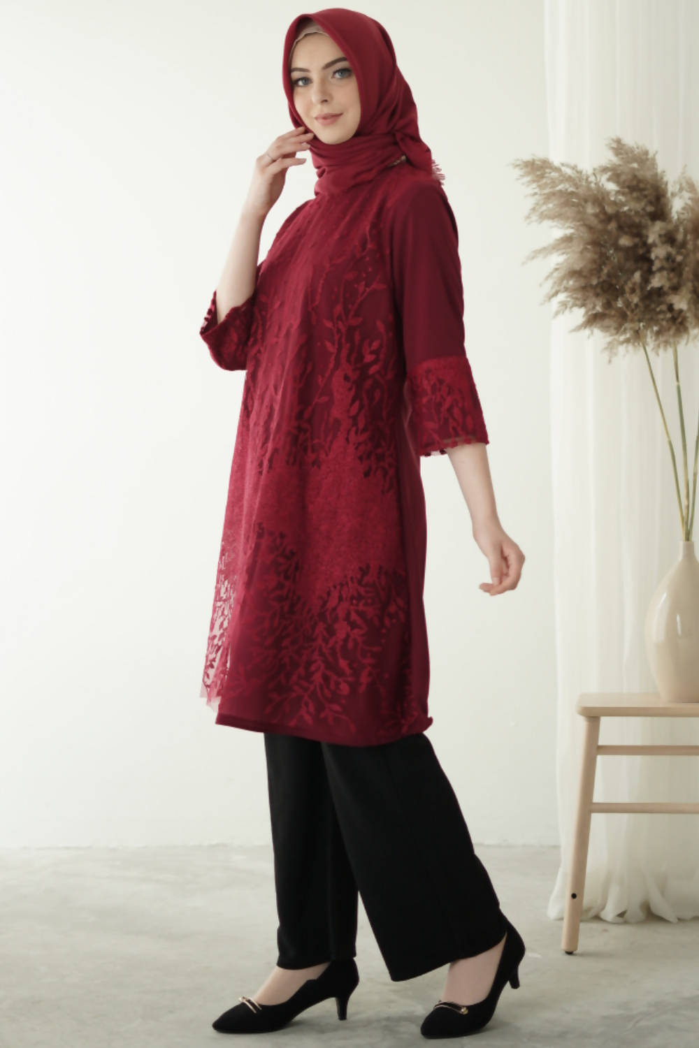 Luna Tunic Dress Maroon