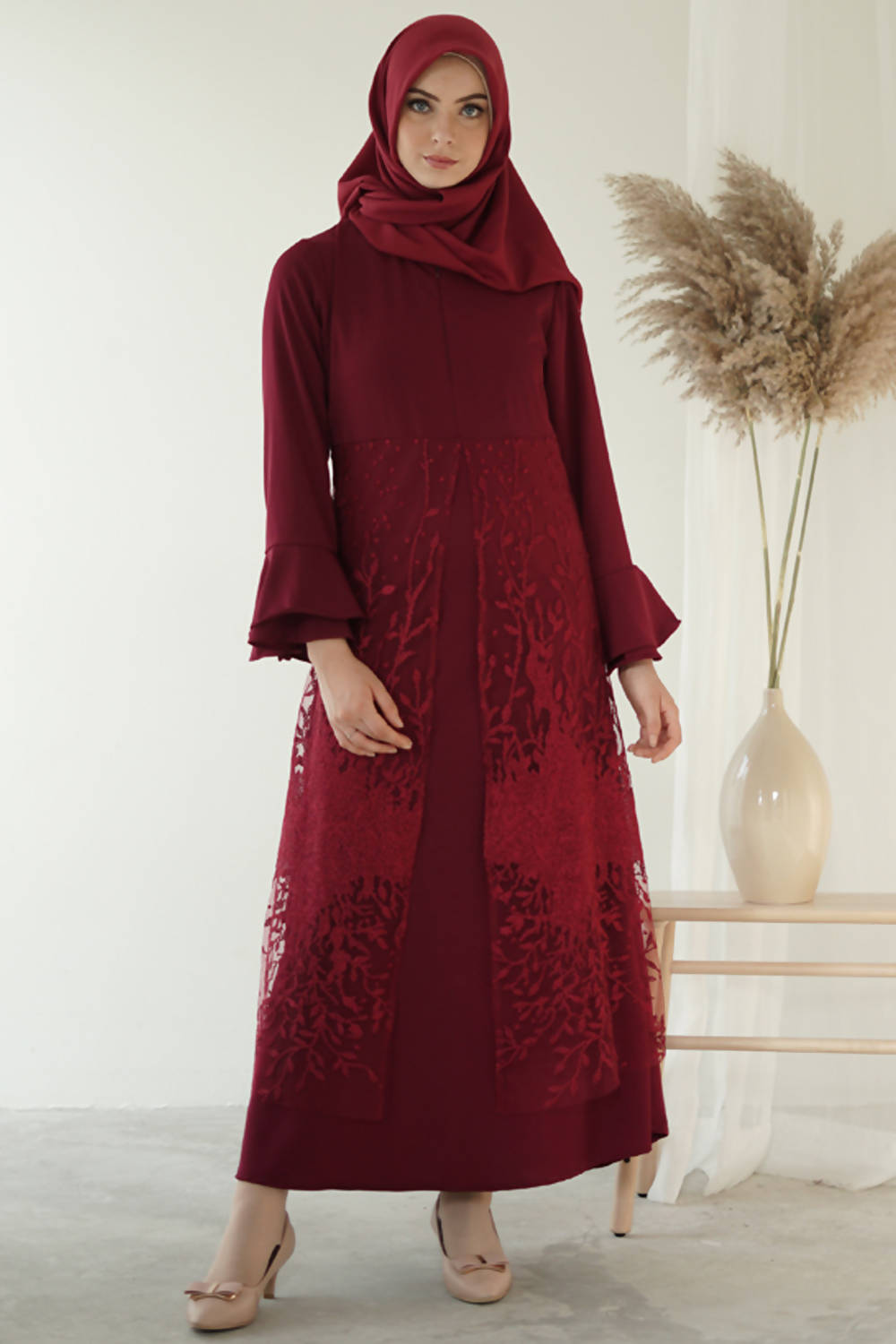 Elana Maxi Dress Maroon