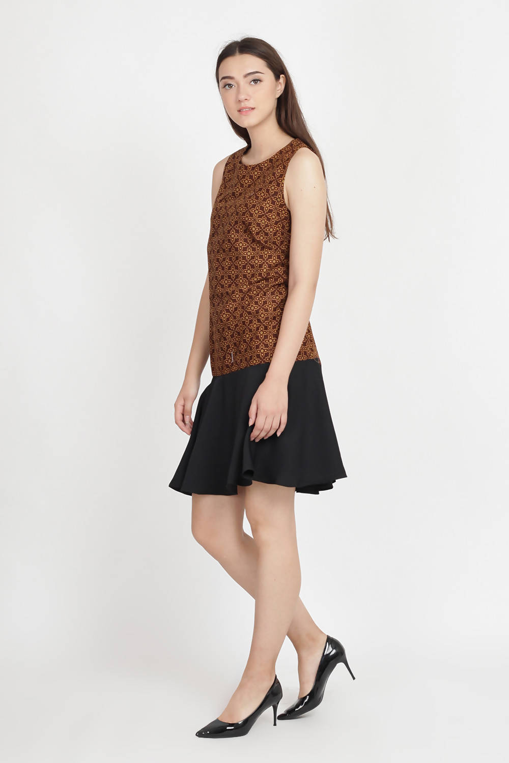 Alana Batik Dress in Brown