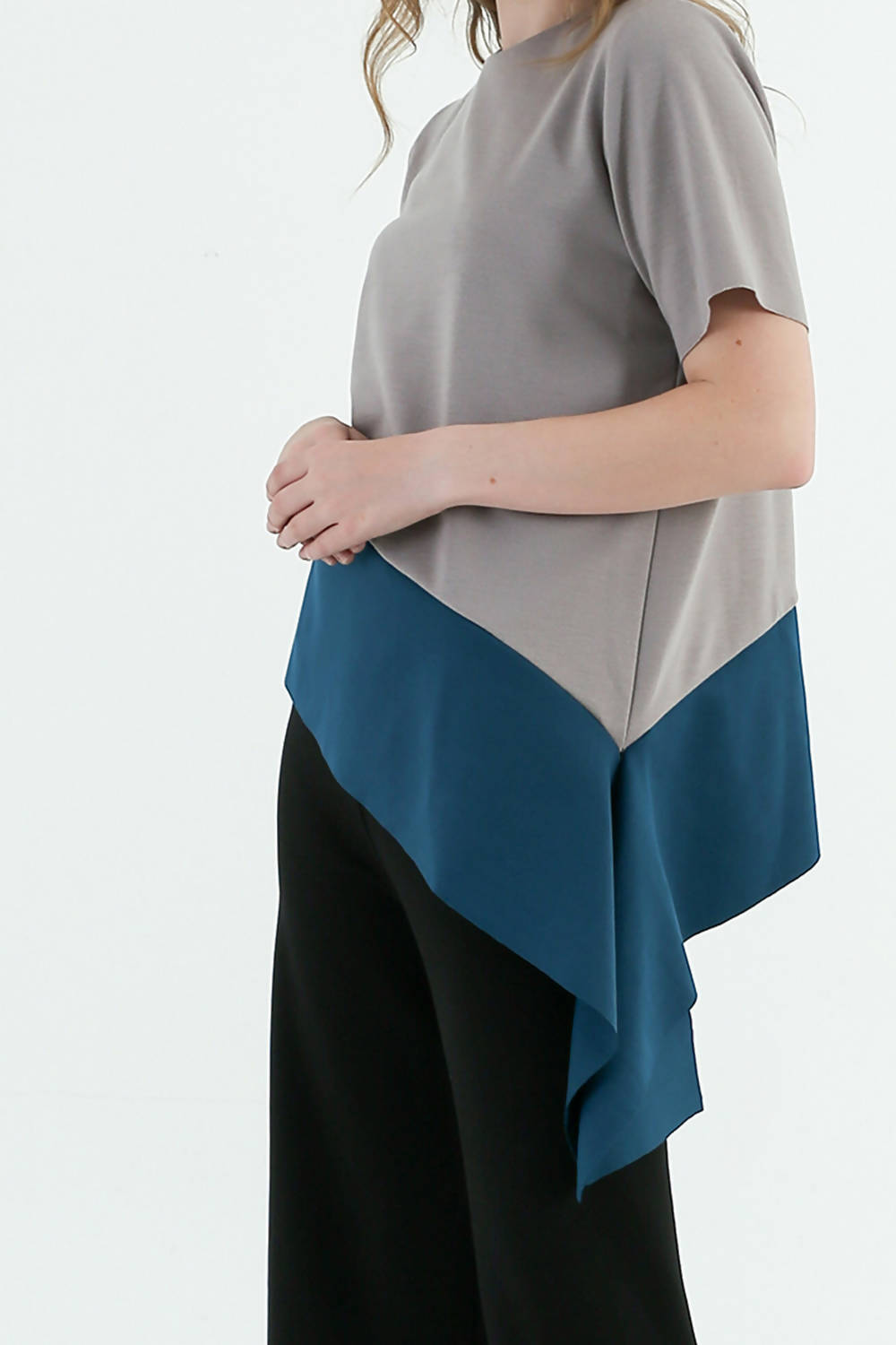 Ashley Top Grey in Teal