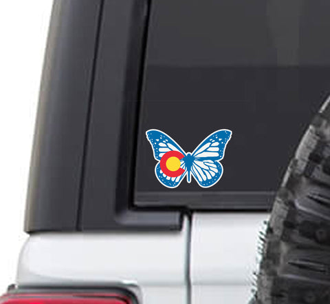 Colorado State Flag Monarch Butterfly Vinyl Sticker Decal
